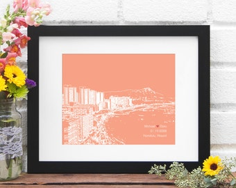 Honolulu Skyline Print, Honolulu Hawaii Gift, Wedding Gift for Couple, First Anniversary Gift, Engaged in Hawaii, Destination Wedding Gift