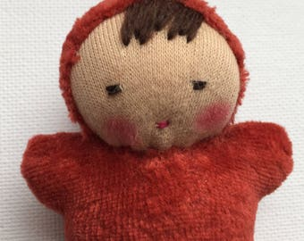 Waldorf doll handmade pocket baby chili red doll party favor