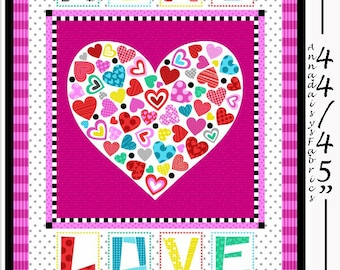 """Love Quilt Fabric Panel, Valentines Day Fabric Panel, Studio E Big Love 3930P 92, 34"""" x 44"""" XOXO Fabric, Love Quilt Fabric Panel, Cotton"""