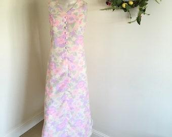 Vintage Pink Floral Pastel Button Down Maxi Dress . Size 10-12