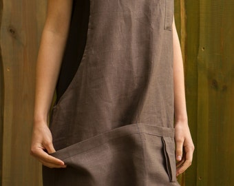 Linen,Handmade, ECO-friendly, Japanese cross-back apron, Made in Latvia
