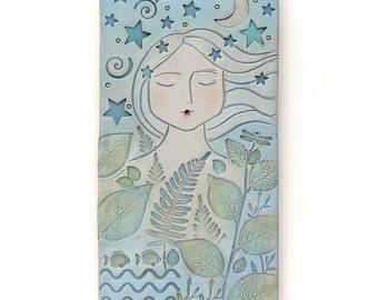 Femme, 4 x 8, en décoration murale, art, argile, art original, unique en son genre