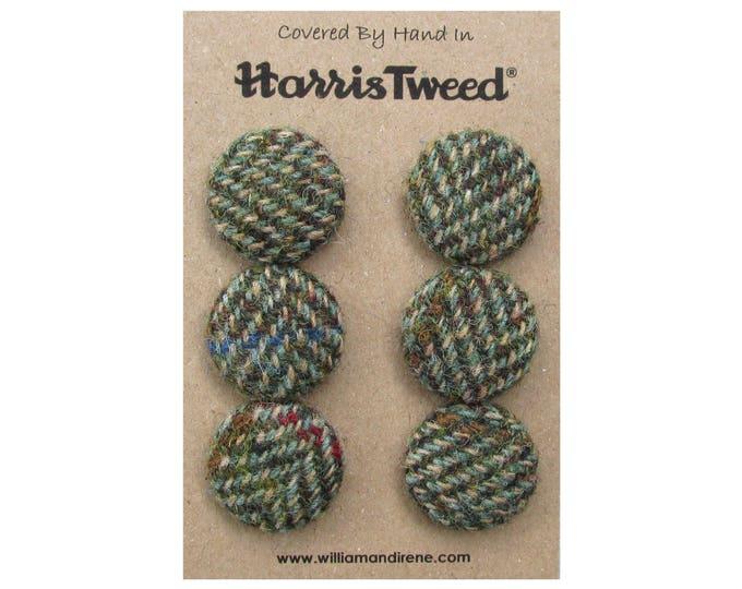 Harris Tweed Pure Wool Green & Fawn Herringbone Handmade Covered Set of 6 Buttons 24mm Diameter