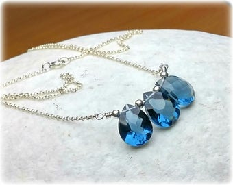 Gemstone Necklace, Sapphire Blue Quartz Necklace, Something blue for bride, Bridal, Wedding Necklace, Wedding Jewelry, Crystal Necklace