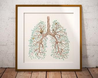 Watercolor Anatomy, Watercolor Anatomy Print, Watercolor Lungs, Lungs Art, Lungs Gift, Gift For Doctor, Nurse Gift Gift for Nurse Wall Art