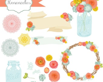 Instant Download - Ranunculus Flower Vectors: Digital Clipart Set
