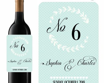 Wedding Wine Labels Table Numbers Elegant Blues Designer Labels Waterproof Vinyl
