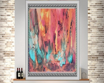 Original fluid painting red abstract art canvas print landscape print acrylic painting wall art modern canvas art acrylic original  print