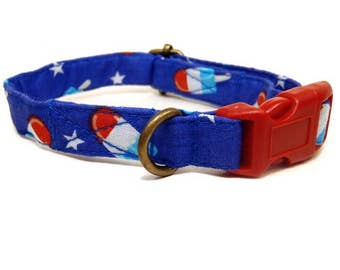 Popsicle Fun - Whimsical American Red White Blue Popsicle Playful Summer Fun Organic Cotton CAT Collar - All Antique Metal Hardware