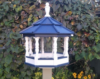 Large Poly Gazebo Bird Feeder Amish Homemade Handcrafted white and Blue Spindle  Post mount