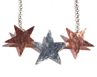 Silver and Copper Star Necklace Mixed Metals
