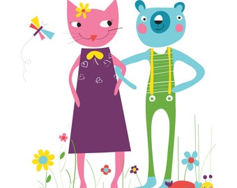 Children Illustration, Autumn print, Cat print, bear print, Children Decor, Cat Art,bear art, Nursery Decor, cat and bear couple art print