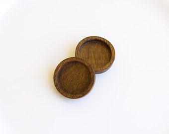 Blank bezels neatly finished hardwood - Walnut - 25.5 mm - Circle - (Z253-W) - Set of 2