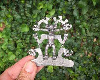 Large 1980s Silver Tone Pendant Aztec Warrior Costume Statement Jewelry, Ethnic Jewelry