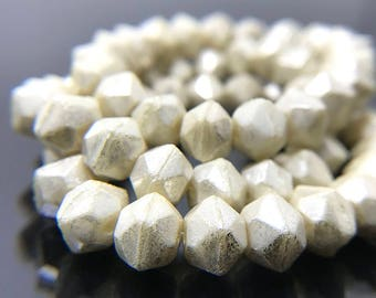 Small Ivory White English Cut Beads with Mercury Finish, Creamy White Glass Rough Cut Chunky Beads, 7mm - 15 beads (ENG-20)