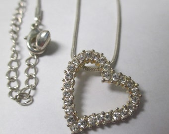 Vintage silver tone rhinestone heart Necklace. 16 inch snake chain with no markings