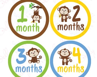 Neutral Monthly Baby Stickers, 1 to 12 Months, Monthly Bodysuit Stickers, Baby Age Stickers, Monkeys Neutral (008-1)