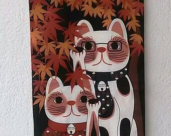 Maneki Neko, tapestry, hanging wall,  autumn 32x14 inches 82x35 cm