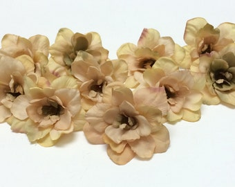 Silk Flowers - 10 Delphinium Blossoms in Taupe - 3 Inches - Artificial Flowers