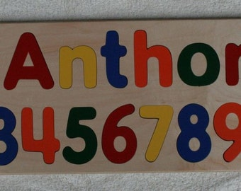 Wooden Name Puzzle with Numbers - Custom Personalized - Birthday Gift - Raised Letters - Kids Wood Name - Mixed Case Letters