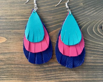 Aqua Pink and Blue Leather Layered Earrings - Aqua Leather Teardrop Earrings - Big Leather Earrings - Leather Fringe