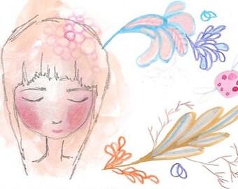 ACEO original small art girl illustration art card atc abstract