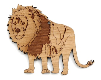 African Lion Ornament- Timber Green Woods. Sustainable Harvest Wood. Made in the USA!