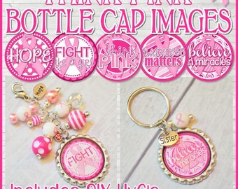 BREAST CANCER Awareness Bottle Cap Images, Think Pink, INCHIE - Printable Instant Download
