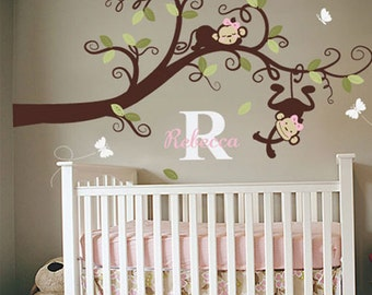 Baby Girl Nursery Decal,  Monkeys on branch Decal