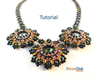 Beaded Necklace Patterns - Right Angle Weave - Rivoli Necklace - Beading Tutorials and Patterns - Beadweaving Tutorial - Sunflower Necklace