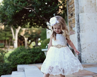 Lace Flower Girl Dress White Lace Dress  Baptism Dress Rustic Lace Flower Girl Dress Lace Rustic Dress White Birthday Outfit