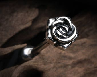 Vintage Steel Rose Blossom Barbell Tongue Ring