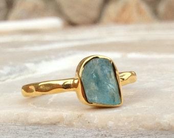 Raw Stone Ring, US 7.75, Raw Blue Quartz Ring, Gold Ring, Rough Natural Gemstone, Rough Blue Quartz Ring, Blue Quartz Gemstone Gold Ring