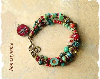 Boho Cowgirl Bracelet, Colorful Bohemian Jewelry, Multiple Beaded Strands, Southwest, bohostyleme, Kaye Kraus