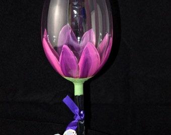 Stemware Hand Painted  (1), Hand Painted wine glass, Wedding Drinkware, Shower gift