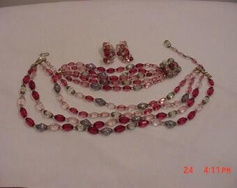 Vintage Pink And Aurora Borealis Glass Beads Adjustable Necklace - Bracelet & Clip On Earrings Parure  17 - 1347