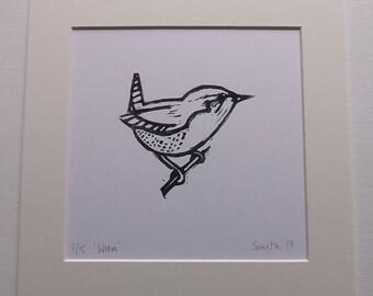 Wren Lino print,British Garden Birds,Limited edition,Lino cut,Bird watcher, Nature Lover,Garden Birds,twitcher,