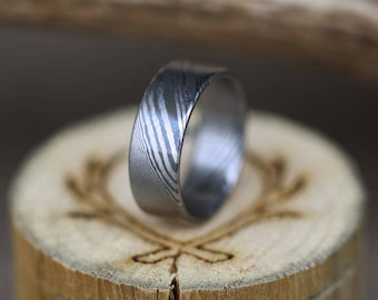 Hand-Forged Stainless Steel Damascus Wedding Band - Staghead Designs