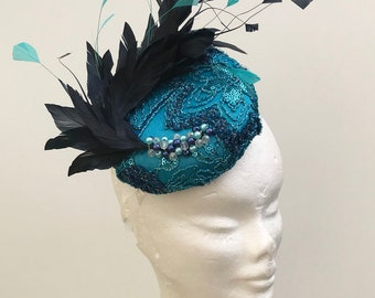 Turquoise and navy fascinator hat, wedding turquoise fascinator headpiece, turquoise and feather headpiece
