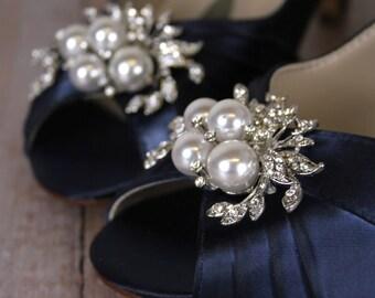 SALE ITEM (Limited Sizes):  Navy Blue Wedding Shoes, Low Heel, Blue Bridal Accessories, Navy Blue Shoes, Blue Bridal Shoes