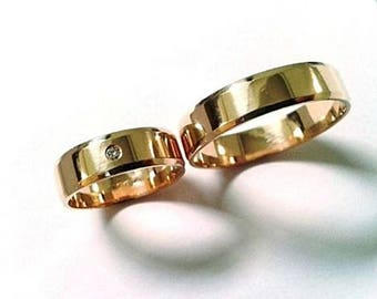 Pair ! 2 Wedding Rings, His and Hers Bands, With 100% Natural 1,4 mm Brilliant Yellow or White 14k Gold, 5 mm Wide