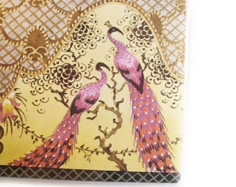 Checkbook Cover - Golden Spring - Chinoiserie Art Deco - purple peacocks - checkbook holder - shimmery - choose top tear or side tear