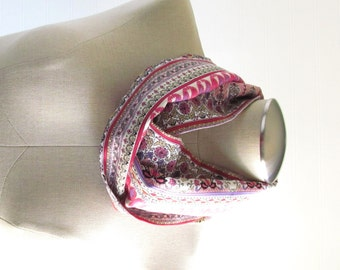 Paisley Infinity Scarf - Pink Scarf - Ikat Infinity Scarf - Pink Circle Scarf - SALE