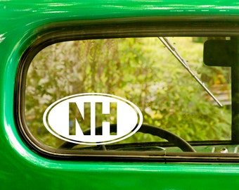 2 OVAL NH New Hampshire Decals Stickers Die Cut Vinyl For Car Window Truck Bumper Laptop Rv Jeep 4x4