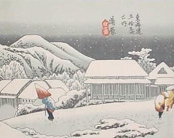 Japanese Fabric Tenugui Hiroshige's 'Night Snow at Kanba' Cotton w/Free Insured Shipping