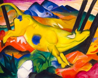 Yellow Cow Modern Art Painting Franz Marc Bright And Cheery Printable Art