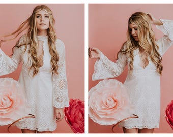 Wedding dress, lace wedding dress, Boho wedding dress, crochet wedding dress, long sleeve wedding dress, short wedding dress, beach wedding