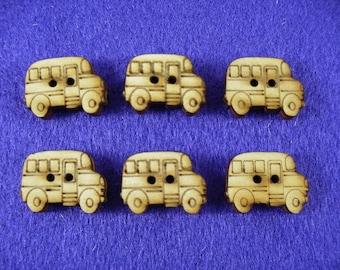 Buttons, wood, 2 x 1,5 cm , 6 pieces (15-0005A)