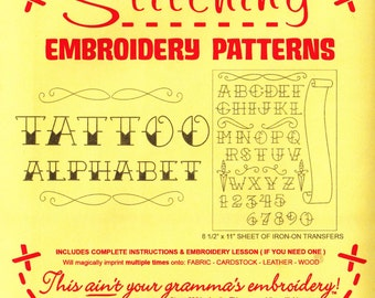 Tattoo Alphabet Embroidery Pattern   Sublime Stitching Tattoo Alphabet Iron On Transfer Embroidery Designs, Monogram Embroidery Fonts