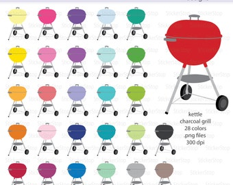 Charcoal Grill Icon Digital Clipart in Rainbow Colors - Instant download PNG files - Kettle Grill